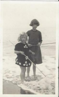 Young Girls Fishing In The Sea - Vintage Photo Postcard