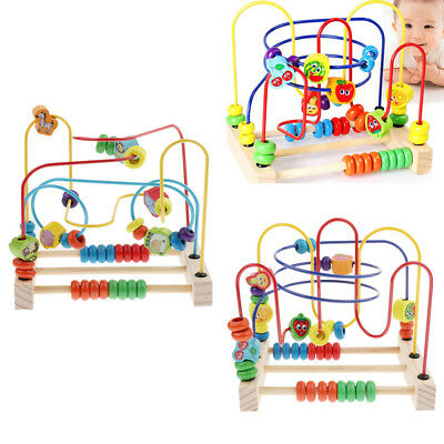 Children Kids Baby Wooden Mini Around Colorful Beads Educational Game Toy