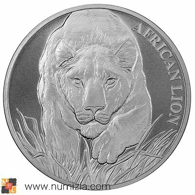 CHAD 5000 Francs 2017 Lion African 1 Oz silver (S/C) CHAD 1 eleven Argent