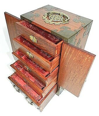 Old Chinese Hand Carved Jade Brass Wood Jewelry Lacquer Box Chest Cabinet Trunk