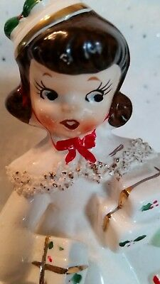 Vintage - Relco - Christmas Girl with Packages Figurine - Super Cute!