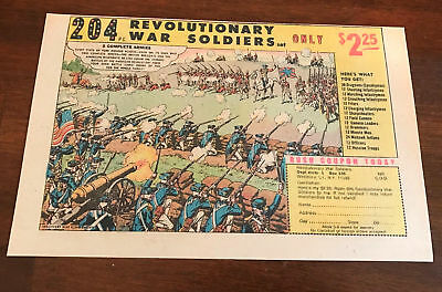 1975 VINTAGE 6.5X10 COMIC PRINT AD FOR 204 Revolutionary War Soldiers TOY SET
