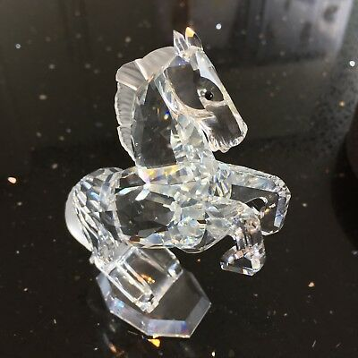 Swarovski Crystal White Stallion Horse 7612 with Box Certificate Rare Retired