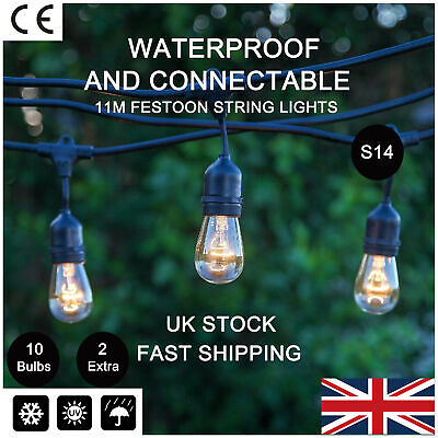 E27 Connectable Outdoor Waterproof Festoon String Lights Retro Hanging Socket UK