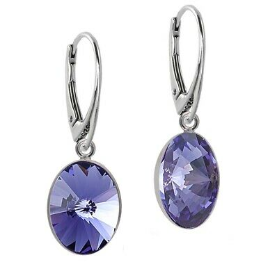 7cf62ff27 925 Sterling Silver Dangle Earrings Oval Rivoli Tanzanite Swarovski®  Crystals