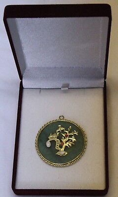 Antique Pendant Green Jadeite Jade 14K Yellow Gold Chinese Dragon and opal