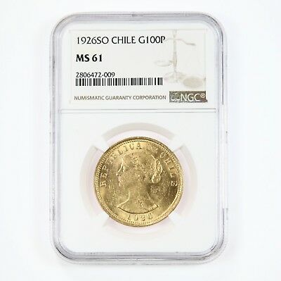 1926SO Chile G100P NGC Certified MS61 Gold Cien Pesos Coin