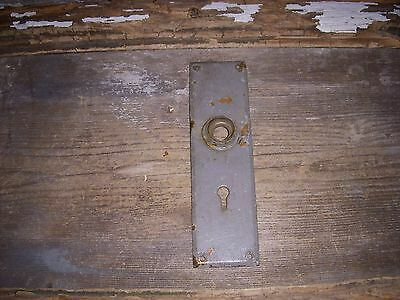 Vtg Old Industrial Steampunk Gray Heavy Cast Brass Door Knob Backplate Art/craft