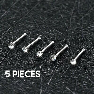 5X - Lot Of 5 Nose Rings Clear Colored