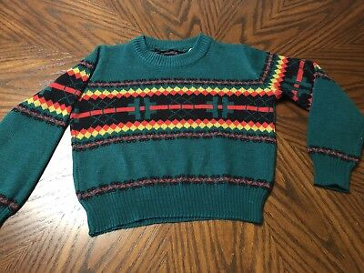 Vintage Boys Michael Justin Acrylic Sweater Green Red Yellow Size 4