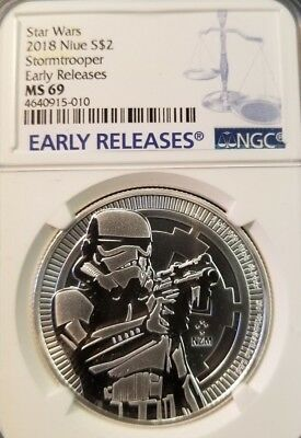 2018 Niue Silver $2 Star Wars Stormtrooper Ngc Ms 69 Early Releases !!!