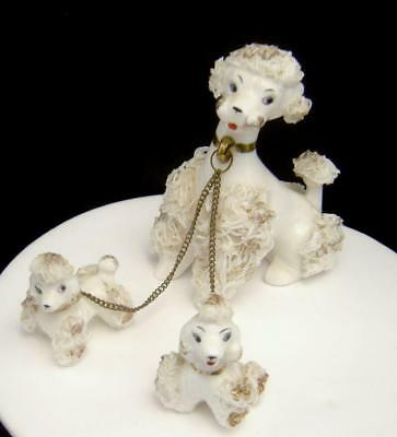 Vintage white Spaghetti Poodle Dog with Pups on chain 1950's
