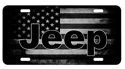 New Custom Jeep US American Flag Tactical Black And White Vanity License Plate