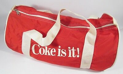 "Vintage Coca Cola ""COKE IS IT"" Shoulder Duffle Bag Red White Retro Nylon"