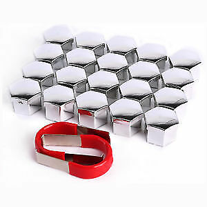 20x 17mm Chrome Alloy Wheel Nut Caps BMW Ford VW Bolt Hub Covers + Removal Tool
