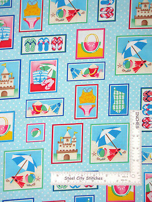 Just Beachy Quilt Fabric Mini Shells Blue Style 1225//77
