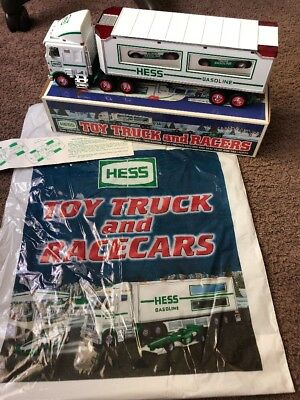 1997 Hess Toy Truck and Racers W Original Box & Bag