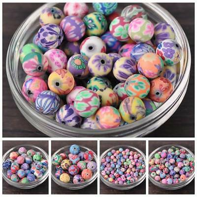 Mixed Flowers Polymer Clay Round Loose Beads DIY Finding 6mm 8mm 10mm 12mm 15mm