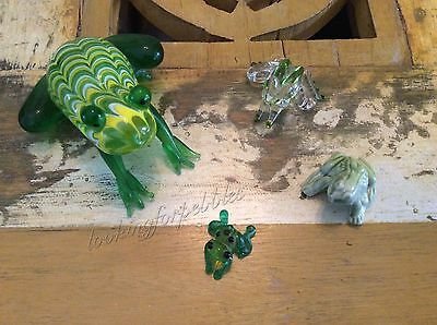 Lot of 4 Hand Blown Glass Ceramic Frogs Froggies MINT, FF & Whimsies Wade Brands