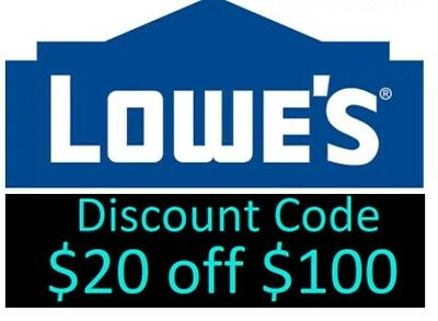 1 Lowes 20 off 100 in store & online Promo discount Fast Delivery exp 10/14
