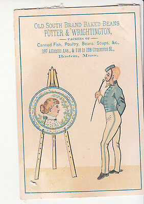 Potter & Wrightington Old South Baked Beans Boston Soldier Vict Card c1880s
