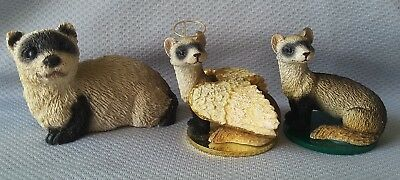"Vintage Stone Critter Littles ""Black Footed Ferret"" Trio (3 pcs)"