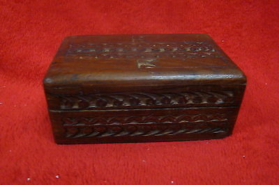 Beautifully Carved Wooden Jewelry/Trinket Box, Lined with Blue Felt