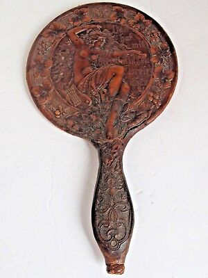 Antique Georg Huber Molded and Tooled Leather Lorelei Hand Mirror