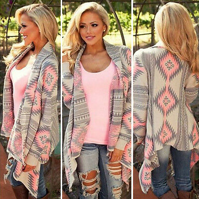 Fashion Womens Long Sleeve Knitted Cardigan Boho Sweater Poncho Outwear Coat Top