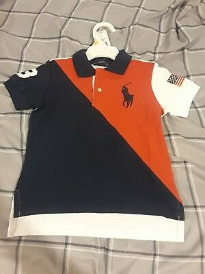 Nwt Polo Ralph Lauren Boy Big Pony Usa Flag Banner Striped Red Navy Rugby Shirt