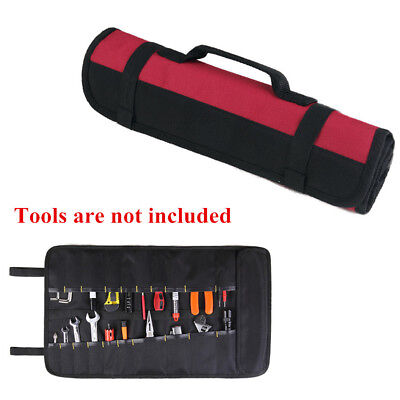 Red + Black Wearproof Oxford Cloth Multiple Pockets Reel Roll Tool Storage Bag