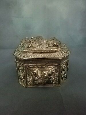 Southeast Asia Burmese Silver repousse Covered Box with Characters