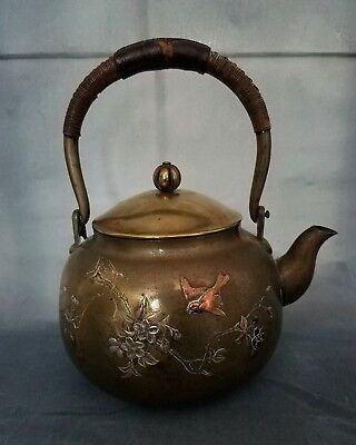 Antique Japanese Mix Metal Teapot Tea Kettle