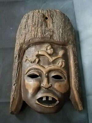 Old African Hand Carved African Tribal Wood Face Mask