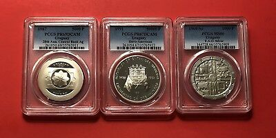 Uruguay-3 Silver Coins (1000,5000&50000  Pesos),graded By Pcgs 66-69(1969-1991)