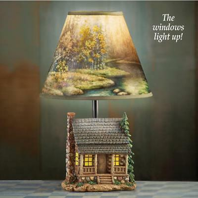 Rustic Lodge Log Cabin Table Lamp Windows Light Nature Scene on Shade