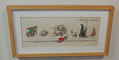 """Boris O'Klein Dirty Dogs of Paris """"A la Queue"""" Etching Signed & Titled in Pencil"""