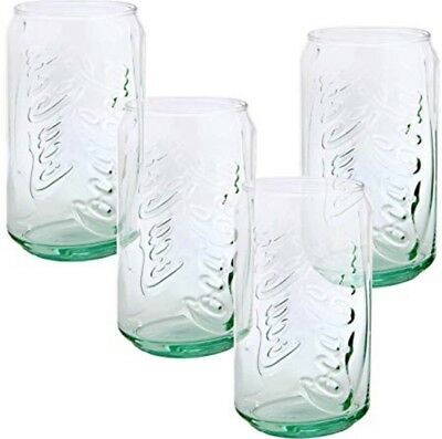 Coca Cola Can Shaped Glass Glassware Beverage Drinking 12 Ounce Set Of 4 Cups