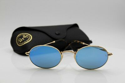 428041a738 Ray-Ban RB3547N 001 9O OVAL FLAT LENSES Gold   Light Blue Gradient Flash