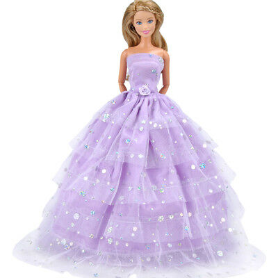 Handmade Doll Purple Wedding Dress Clothes Barbie Doll Party Gown Outfit SP