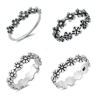 Sterling Silver 925 PRETTY FLOWER SILVER RINGS SIZES 4-12
