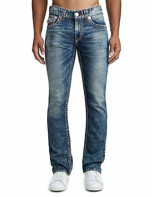 True Religion Mens $329 Jeans Relaxed Fit Straight Leg Super T Wood Stain 101094