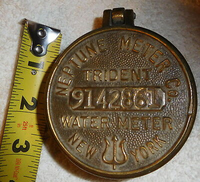 Vintage Neptune brass water meter cover trinket coin junk box,New York trident,