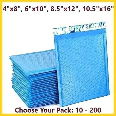 Blue Poly Bubble Mailers Shipping Mailing Padded Bags Envelopes Color *Any Size*