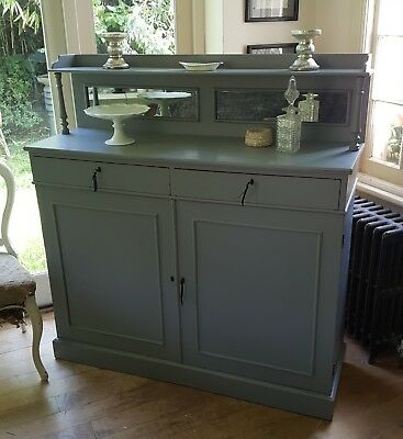 Pretty Vintage Hand Painted Antique Sideboard Chiffonier Fired Earth
