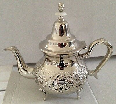 Moroccan Small Tea Pot Handmade W/ 4 Legs Small Brass Silver Plated Fes Morocco