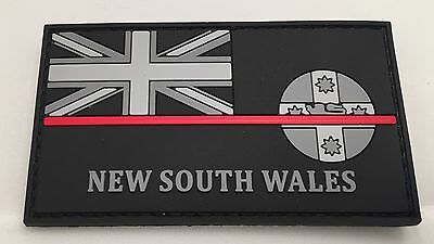 Thin Red Line, NSW Fire Rubber / PVC Patch, State Flag, Hook Rear, 1 x Item