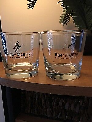 (2) Remy Martin Fine Champagne Cognac Lowball Rocks With Gold Lettering