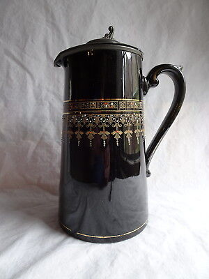 Vintage Black Ceramic Pitcher with Metal Lid, Victoria, Gibson & Sons, England