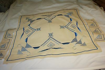 """Vintage Cross Stitch And Embroidery  Blue Tea Tablecloth 33"""" X 33"""" And 6 Napkins"""